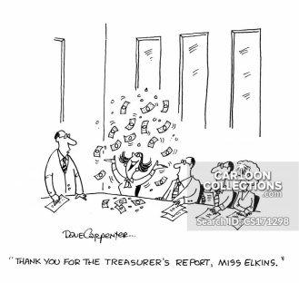 'Thank you for the treasurer's report, Miss Elkins.'